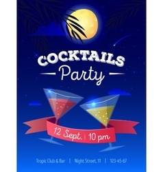 cocktails party poster with night beach vector image vector image