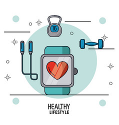 Colorful poster of healthy lifestyle with clock vector