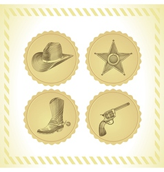 Cowboy icon set vector