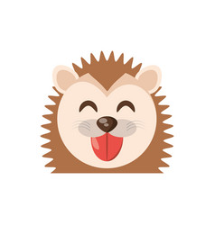 Cute face porcupine animal cheerful vector