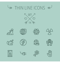 Ecology thin line icon set vector image
