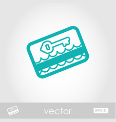 Electronic keycard outline icon summer vacation vector