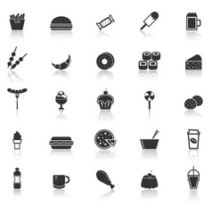 fast food icons with reflect on white background vector image vector image
