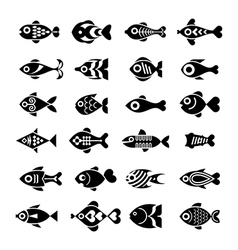 fish icon set vector image vector image