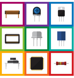 Flat icon device set of cpu mainframe receptacle vector