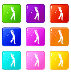 Golf player icons 9 set vector