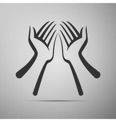 Hand flat icon on grey background vector image vector image
