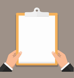 Hands with clipboard vector