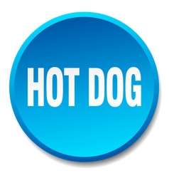 Hot dog blue round flat isolated push button vector