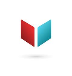 Letter V book cube logo icon design template vector image vector image