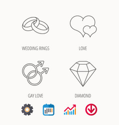 Love heart diamond and wedding rings icons vector