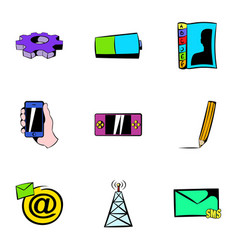 Mobile tower icons set cartoon style vector