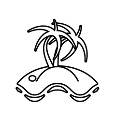 Outline palm tree sand beach vector
