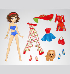 Paper Brunette Retro Doll vector image