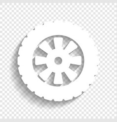 Road tire sign white icon with soft vector
