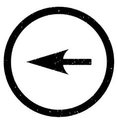 Sharp left arrow icon rubber stamp vector
