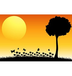 Silhouette field vector image vector image