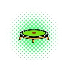 Small fitness trampolin icon comics style vector