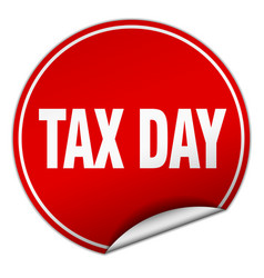 Tax day round red sticker isolated on white vector
