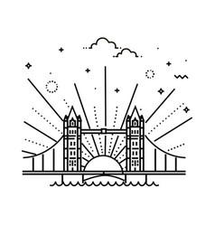 Tower bridge icon outline vector