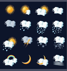 weather icons in cartoon style on dark blue vector image vector image