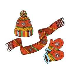 Winter hat mittens and scarf vector image vector image