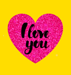 Yellow pink i love you vector