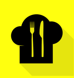 Chef hat and spoon fork knife sign black icon vector