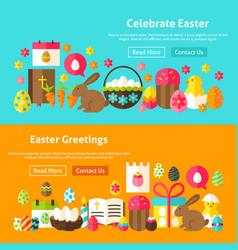 happy easter website banners vector image