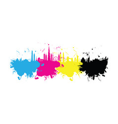 cmyk building cityscape background splash vector image