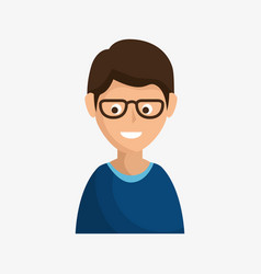 Brunette smiling man icon vector