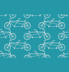 tandem bicycle seamless pattern white vintage vector image