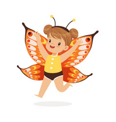 Cute happy little girl dressed as a butterfly vector