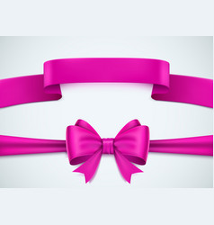 Realistic pink ribbon set on white background vector