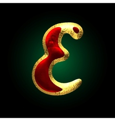 Golden and red letter e vector