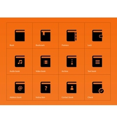 Book icons on orange background vector