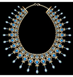Blue female necklace vector