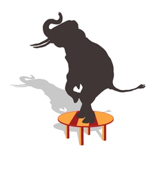 Elephant on the table vector