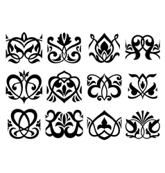 Floral retro ornament design elements vector