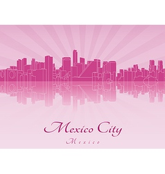 Mexico city skyline in purple radiant orchid in vector
