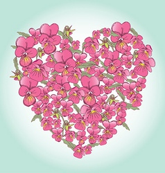 Beautiful pink pansy heart background for vector