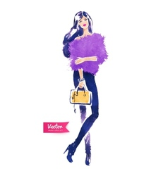 Fashion model with bag vector