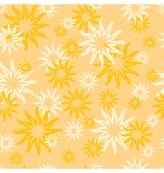 Seamless pattern with bright yellow sun vector