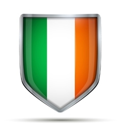 Shield with flag ireland vector