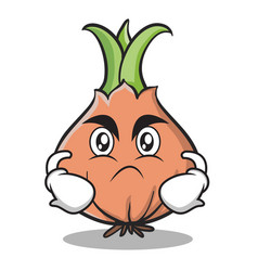 Angry face onion character cartoon vector