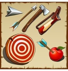 Archery set and tools for the hunter vector