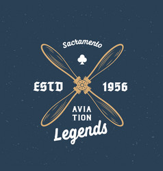 aviation legends airplane retro label sign vector image