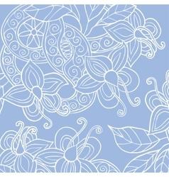 Background with hand drawn flowers leafs and vector image vector image