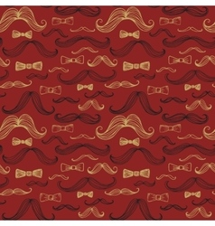 Bow tie and moustache seamless pattern vector