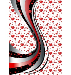 Bright curves on white background with hearts vector image vector image